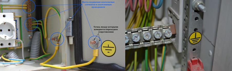 измерение всех переходных сопротивлений на различных участках нулевого защитного проводника